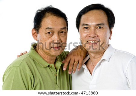 Two Chinese men in their fifties isolated on white background