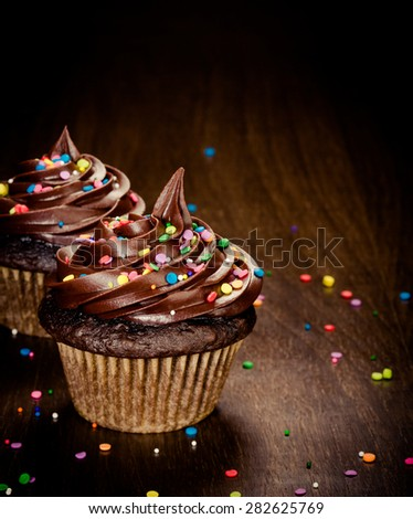 Two Chocolate birthday cupcakes with colorful sprinkles - stock photo