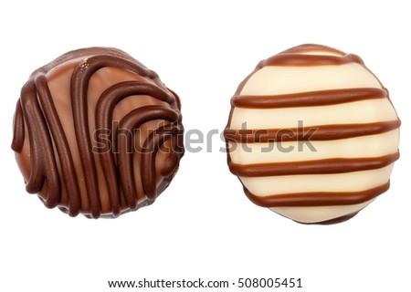 Two chocolate candies isolated on white background