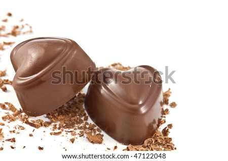 two chocolate candy isolated on white