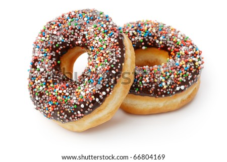 Two Chocolate Donuts with Sprinkles. Isolated on a White Background - stock photo