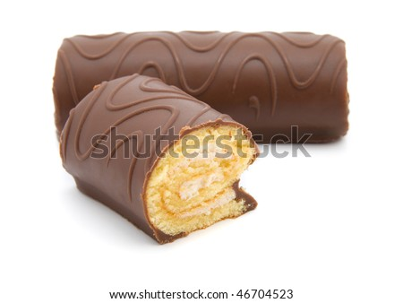 two chocolate roll with cream on a white background