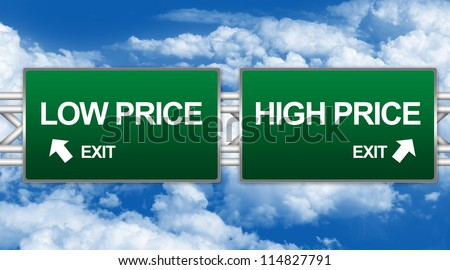 Two Choices Of Green Highway Street Sign Between High Price And Low Price Sign For Business Concept Against A Blue Sky Background