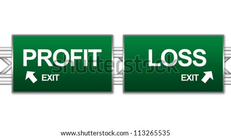 Two Choices Of Green Highway Street Sign Between Profit And Loss Sign For Business Direction Concept Isolate on White Background - stock photo