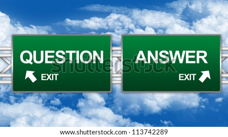 Two Choices Of Green Highway Street Sign Between Question And Answer Sign For Business Direction Concept Against A Blue Sky Background - stock photo