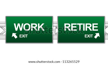 Two Choices Of Green Highway Street Sign Between Work And Retire Sign For Business Concept Isolate on White Background - stock photo