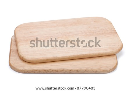 Two chopping board. Isolated on white background