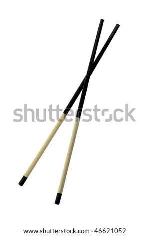 Two chopsticks isolated on pure white - stock photo