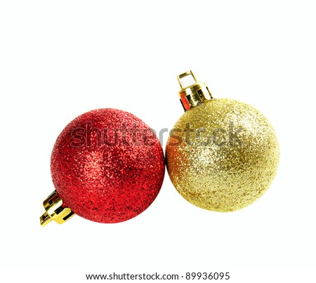 Two christmas balls isolated on the white - stock photo