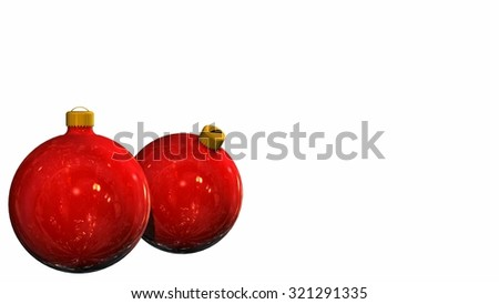 two Christmas balls - isolated on white background