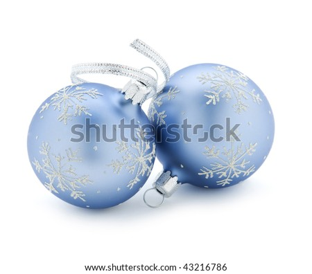 Two christmas balls isolated on white close up - stock photo