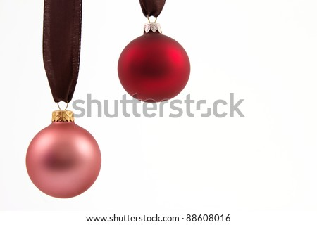 Two Christmas balls with a white background