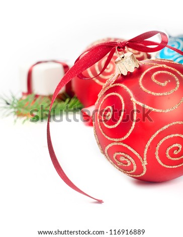 Two christmas balls with pine decoration - stock photo