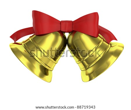 Two Christmas bells tied with red ribbon isolated on white background - stock photo