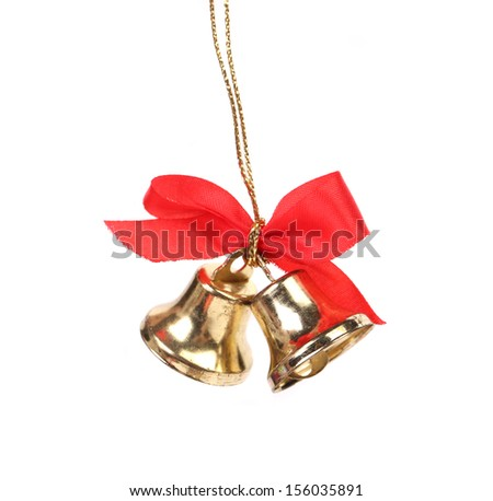 Two christmas bells with red ribbon. Isolated on a white background. - stock photo