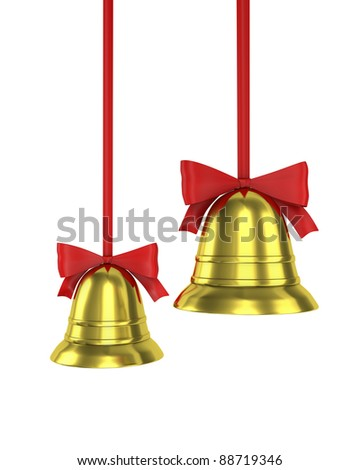 Two Christmas bells with red ribbons isolated on white background - stock photo
