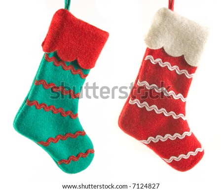 Two Christmas boots - stock photo