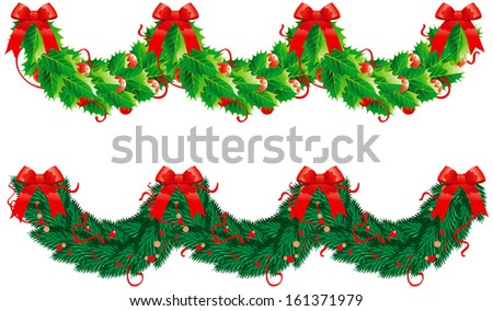 Two christmas  garlands (semicircle). Holly and fir garlands for christmas decoration in form wave - stock photo