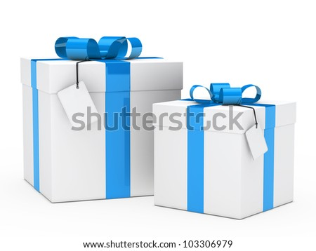 two christmas gift box with blue ribbon - stock photo
