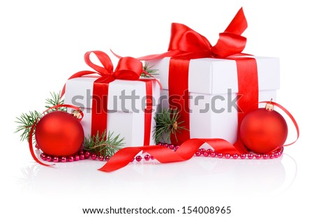 Two Christmas gift with Red Ball, tree branch, ribbon bow and beads isolated on white background - stock photo