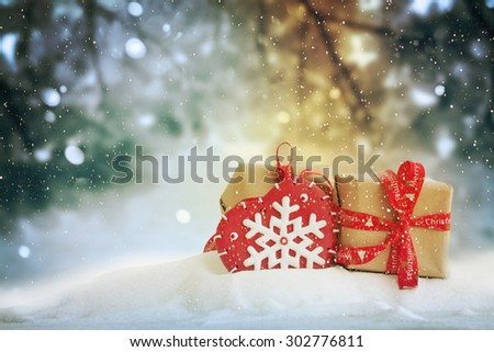 Two Christmas gifts - stock photo