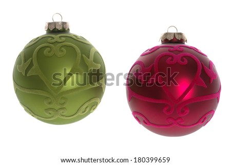 Two Christmas ornaments on white  - stock photo