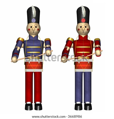 Two christmas toy soldiers with drums isolated on a white background