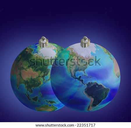Two Christmas tree DECORATION in form earth on blue background