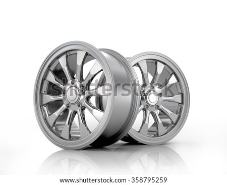 Two chrome drives a white background. - stock photo