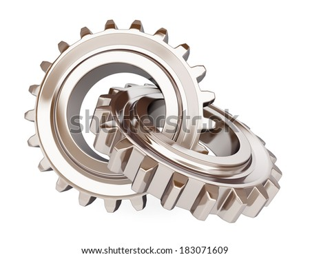 Two chrome gears on white background. - stock photo