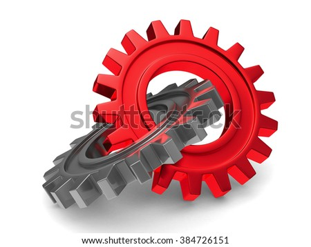 Two chrome gears on white background. Isolated 3D image - stock photo