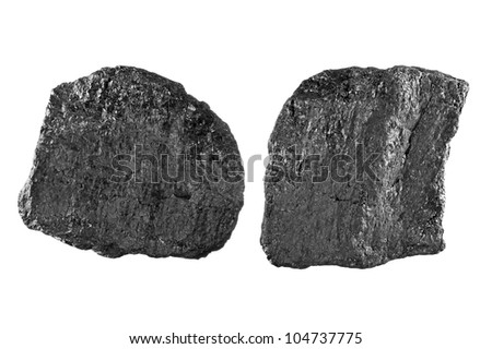 Two chunks of bituminous carbon use to generate power isolated on white - stock photo
