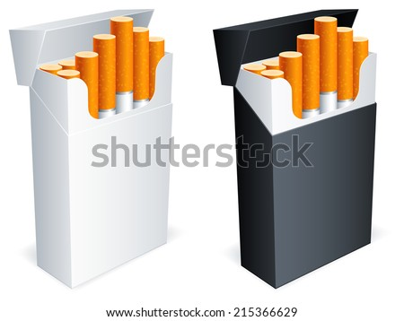 Two cigarette packs with cigarettes. - stock photo
