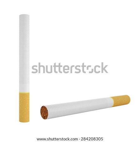 Two cigarettes isolated on white background. 3d illustration High resolution - stock photo