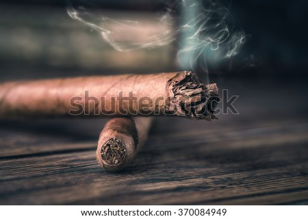 Two cigars - stock photo