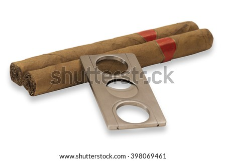 Two cigars isolated on white background - stock photo