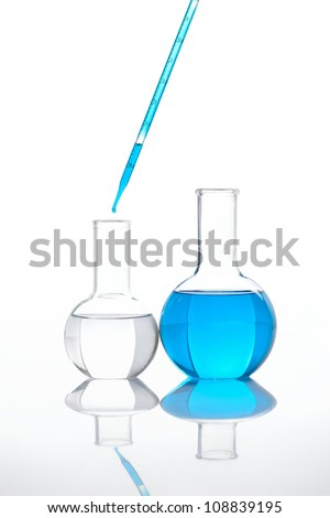 Two classic laboratory flasks  with a blue colored chemical reagent, isolated - stock photo