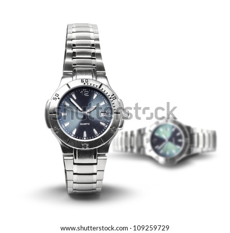 Two classic men's steel wrist watches isolated on white background - stock photo