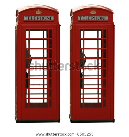 Two classic red British telephone box, isolated on a white background - stock photo