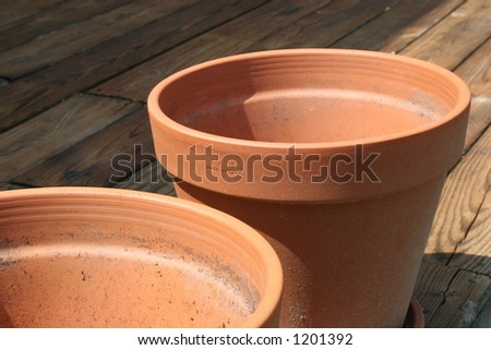 Two clay flower pots - stock photo