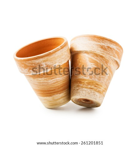 Two clay flower pots isolated on white backgrounds. Object with clipping path - stock photo