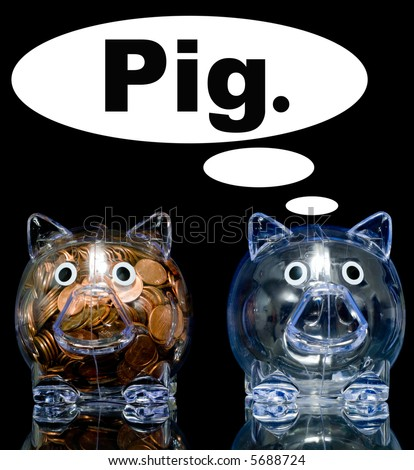 "Two clear acryllic piggy banks one stuffed full of american pennies the other empty, Illustration of the ""haves"" and the ""have nots"". - stock photo"