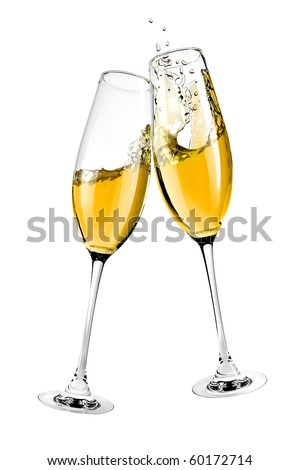 two clinking glasses with champagne isolated on white