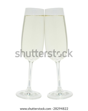 Two clinking glasses with champagne isolated on white background with clipping path