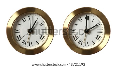 Two clocks showing different time isolated on white
