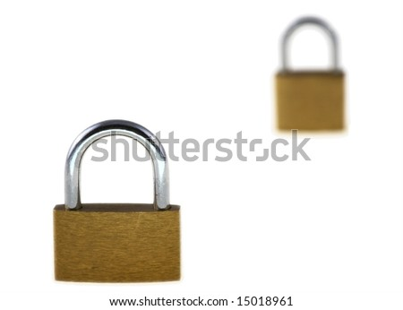 Two close locks on a white background