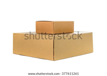 Two closed big and small cardboard Box or brown paper package box isolated with soft shadow on White background - stock photo