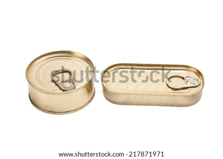 two closed cans in oil isolated on white background