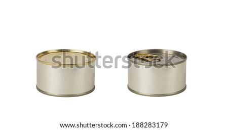 two closed cans on white background - stock photo