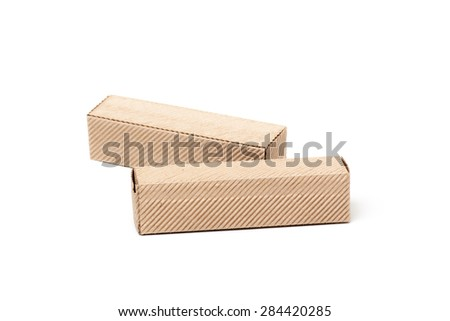 Two Closed Cardboard Boxes, isolated on a White background